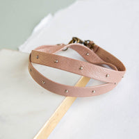 Studded Leather Wrap - Blush