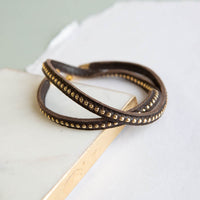 Studded Leather Wrap - Chocolate