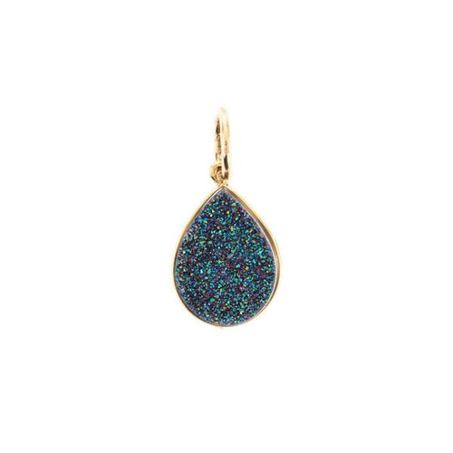 Druzy Pendant-Pear, Teal