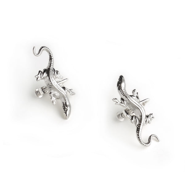 lizard clip-on silver