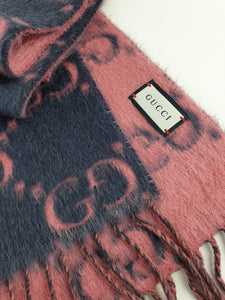 Gucci GG alpaca and wool scarf reversible