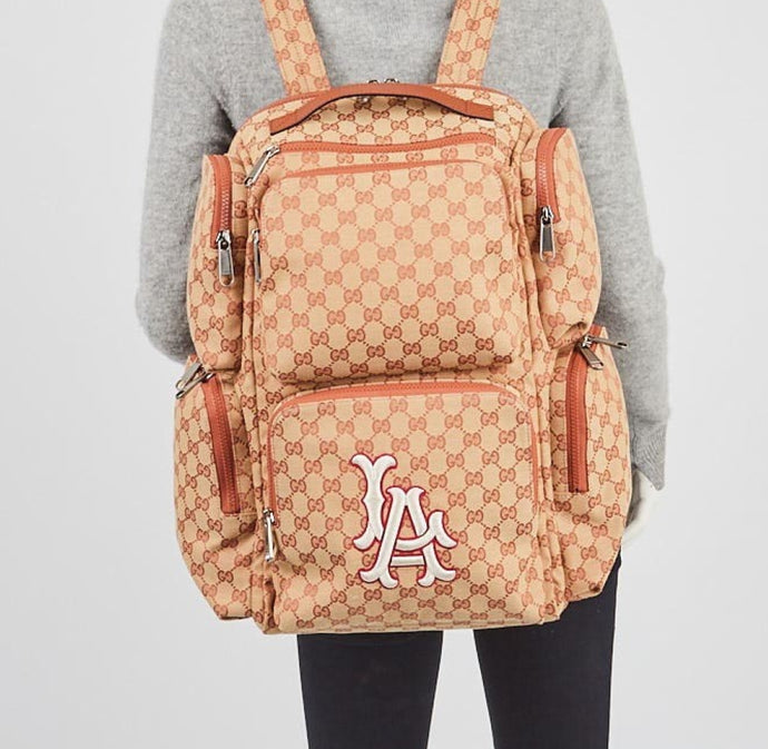 Gucci Large GG Backpack with LA Angels MLB