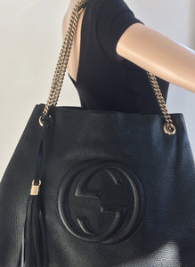 Gucci large soho textured chain  hobo