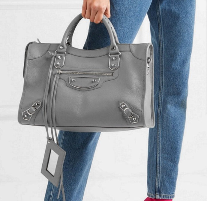 Balenciaga metallic city edge with strap