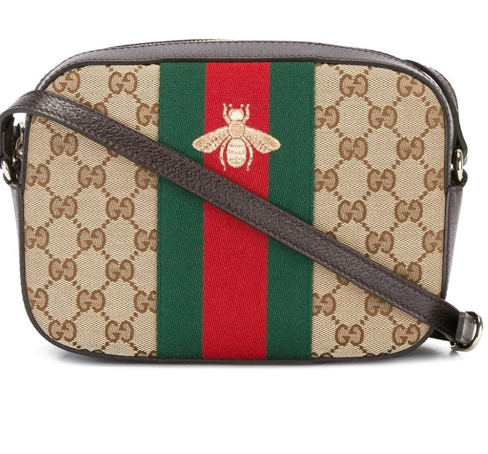 c720be5f5 Load image into Gallery viewer, GUCCI bee embroidered GG Supreme crossbody  bag ...