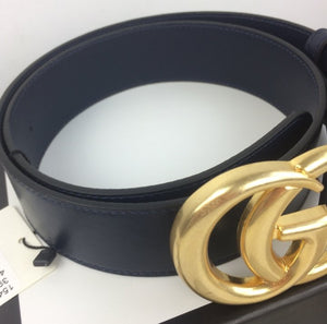Gucci marmont double G buckle belt blu