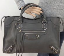 Load image into Gallery viewer, Balenciaga metallic city edge with strap