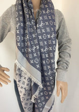 Load image into Gallery viewer, Louis Vuitton denim shawl blue/white