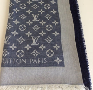 Louis Vuitton denim shawl blue/white