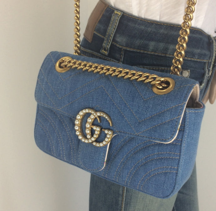 Gucci GG marmont denim pearl mini bag