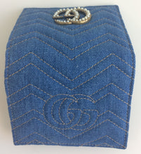 Load image into Gallery viewer, Gucci marmont denim matelasse GG pearl card case wallet