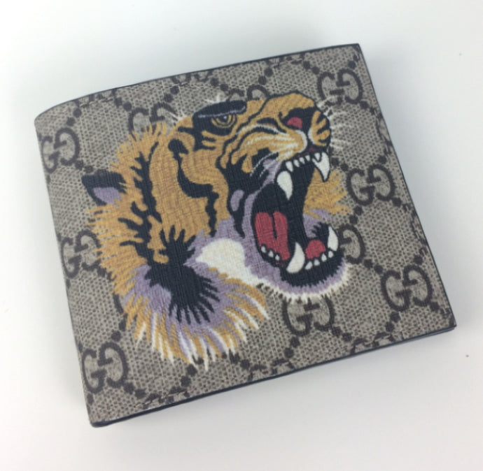 Gucci GG supreme tiger head wallet