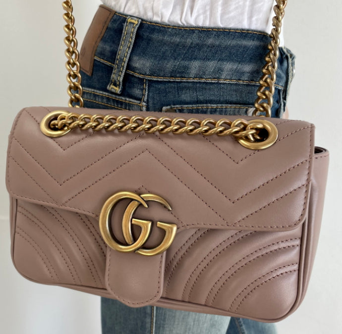 Gucci mini marmont in dusty pink