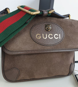 Gucci neo suede vintage web small messenger unisex