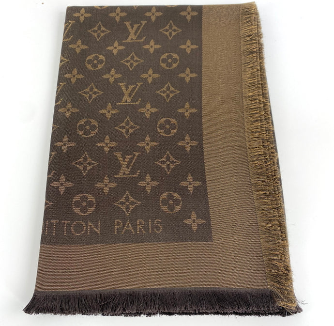 Louis Vuitton monogram shine shawl brown/gold