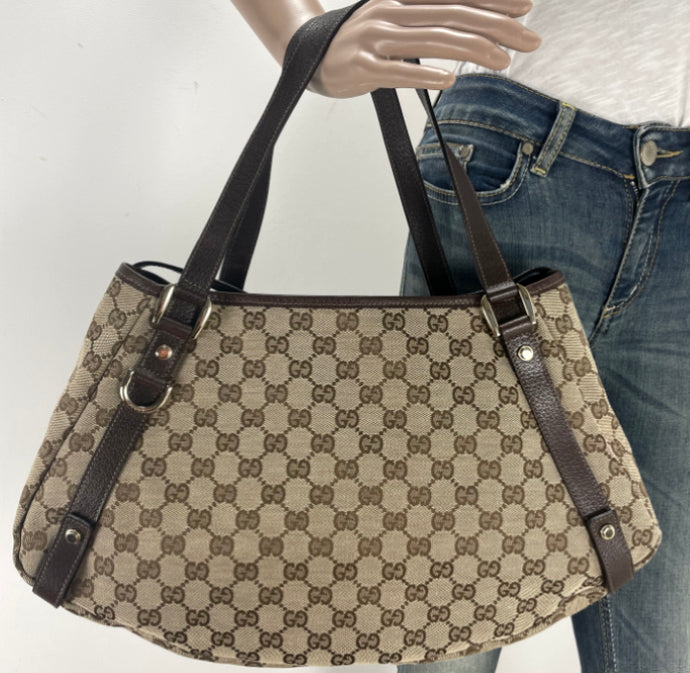 Gucci medium abbey GG  beige ebony tote