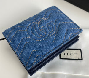 Gucci marmont denim matelasse GG pearl card case wallet