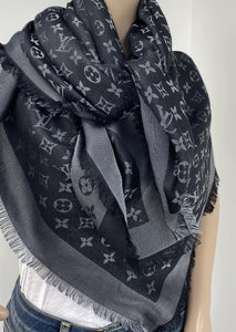 Louis Vuitton monogram shine shawl black/silver