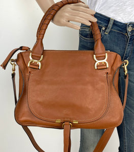 Chloe medium Marcie nude satchel in tobacco