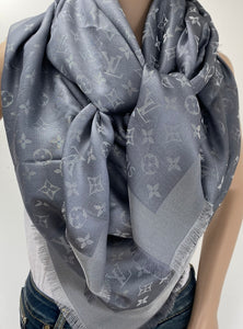 Louis Vuitton monogram shine shawl charcoral grey