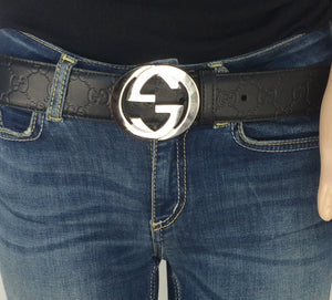GG interlocking signature belt black size 90