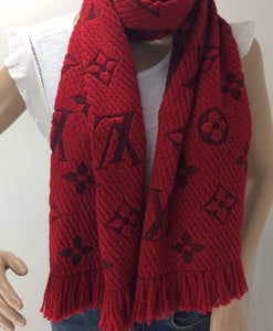 Louis Vuitton logomania scarf in red ruby