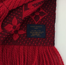 Load image into Gallery viewer, Louis Vuitton logomania scarf in red ruby