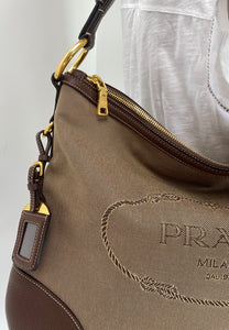 Prada jacquard canvas hobo bag