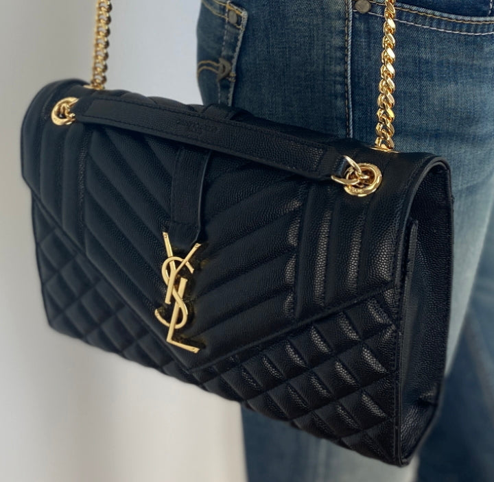 Saint Laurent YSL medium envelope bag black