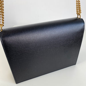 Saint Laurent YSL Cassandra monogram clasp bag black