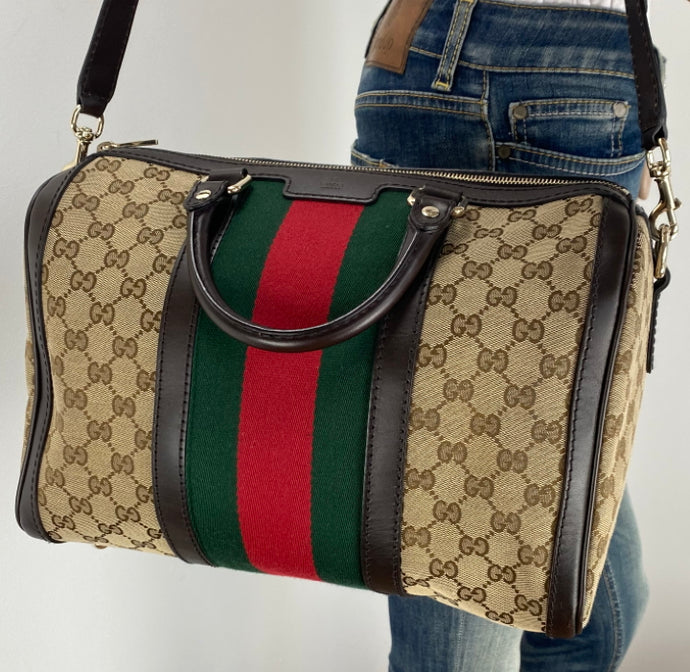 Gucci Vintage Web stripe GG boston bag