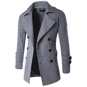 Open image in slideshow, Black and Grey Wool Peacoat
