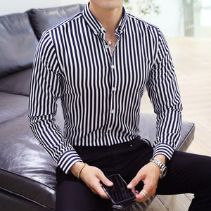 Open image in slideshow, Casual Stripe Dress Shirt