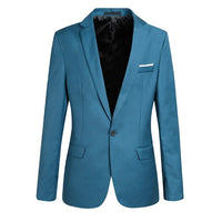 Fashion Long Sleeve Solid Color Slim Fit Blazers for Men