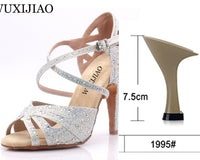 Sizzling Black & White Flash Cloth Latin Dance Shoes for Women
