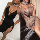 KM New Arrival Sexy Halter Deep V-neck Sleeveless Backless Evening Party Dress