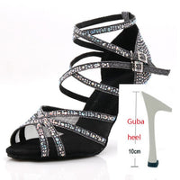 Silk Satin Glitter Rhinestone Professional Dance Shoes for Women