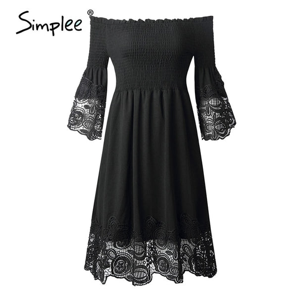 Simplee Sexy off shoulder women summer dress Elegant black stitching lace female short sundress Summer ladies elastic mini dress