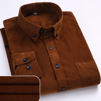 KM Autumn / Winter Arrival Warm Quality 100% Cotton Corduroy Long Sleeved Button Collar Shirts