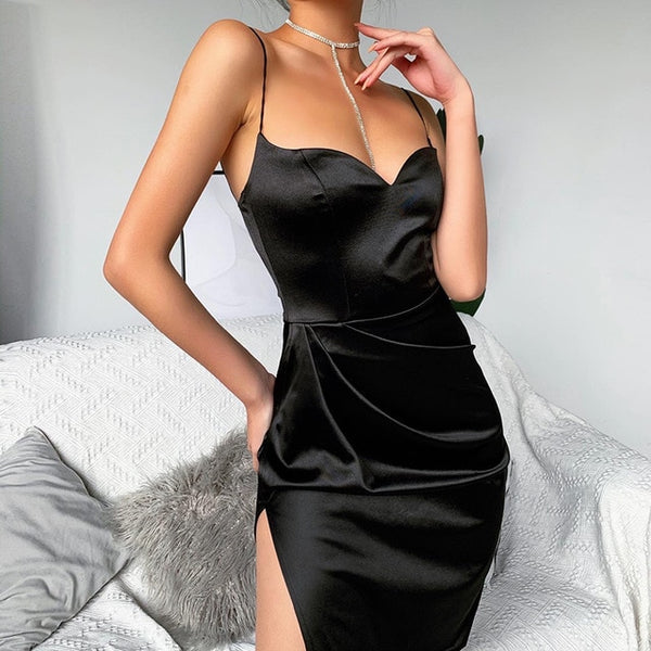 Black Satin Spaghetti Strap Sleeveless Split Hem Knee-Length Dress