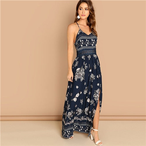 Navy Lace Waist Split Front Cami Floral Print Sleeveless Women Party Dress