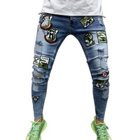 KM New Arrival Autumn Stretchy Ripped Skinny Biker Embroidery Print Jeans