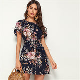 Navy Floral Print Petal Sleeve Shift Bohemian Short Dresses for Women