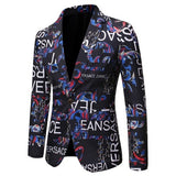 Mens Blazer with European & American Alphabet Printing Slim Fit