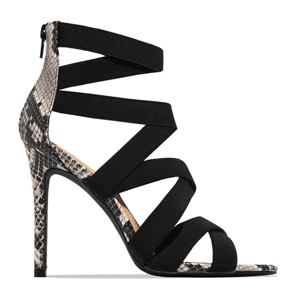 KM Hot New Arrival Snake High Thin Heels