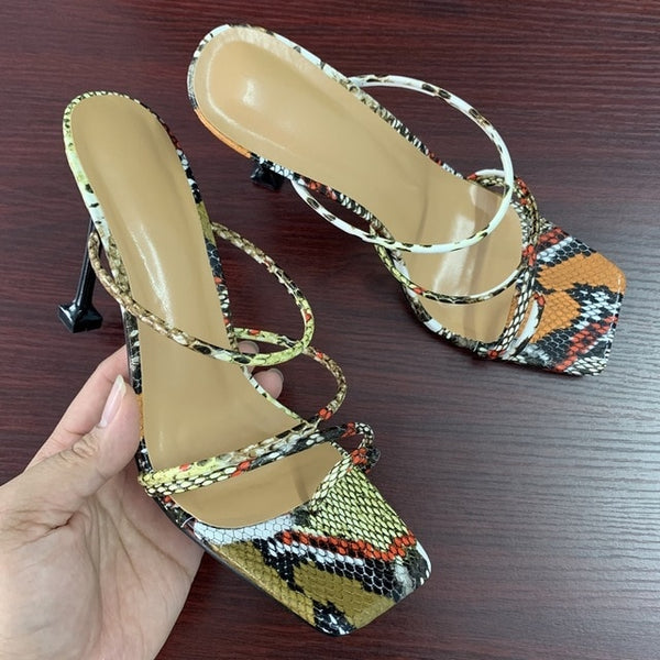 KM Hot New Arrival Women Strap Mule Heels