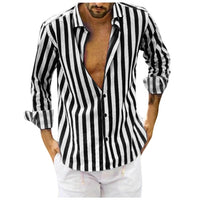 Men Vertical Striped Slim Fit Long Sleeve Casual Button Down Dress Shirts