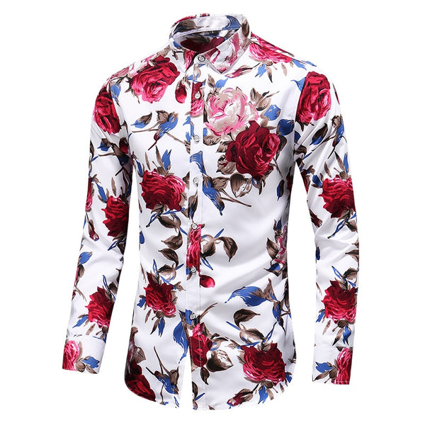 KM Spring Summer Slim Floral Long Sleeve Shirt