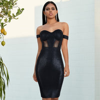 Black Off Shoulder Sexy Lace Strapless Backless Evening Dress