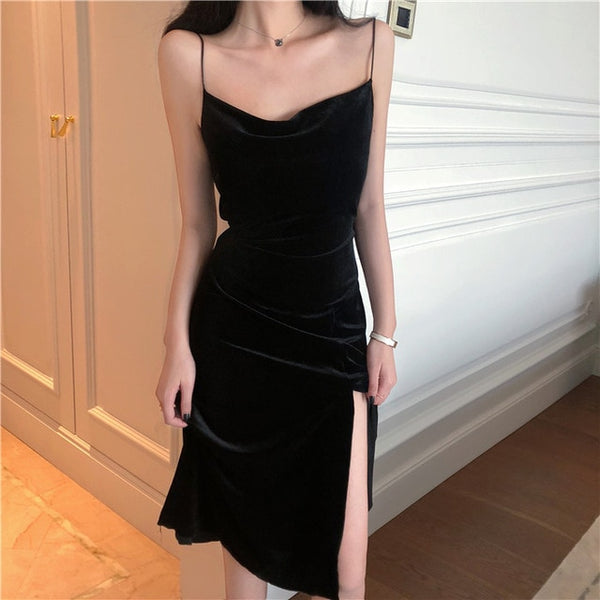 Spaghetti Strap Slit Black Velvet Dress